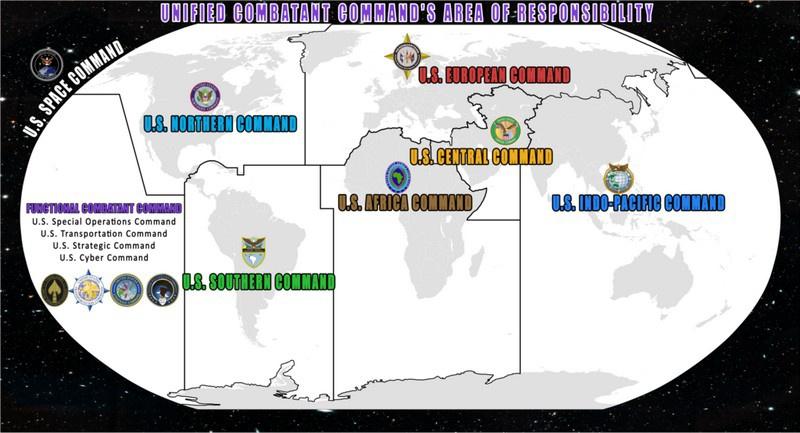 Рубежами обороны управляют одиннадцать объединённых военных командований армии США.
