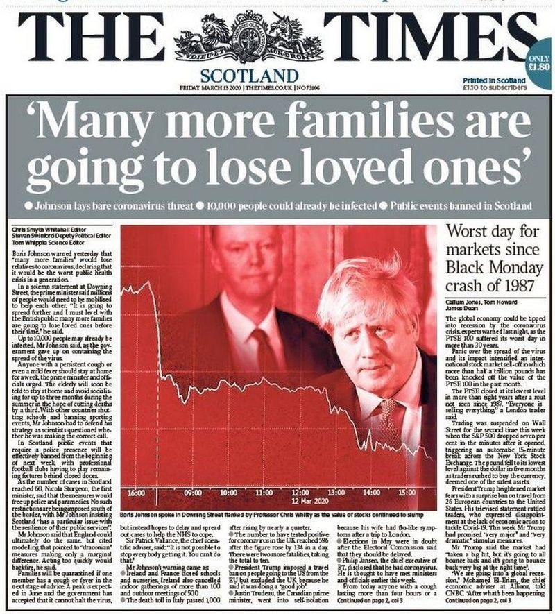 The Times на первой полосе цитирует «умиротворяющее» заявление премьера Бориса Джонсона.