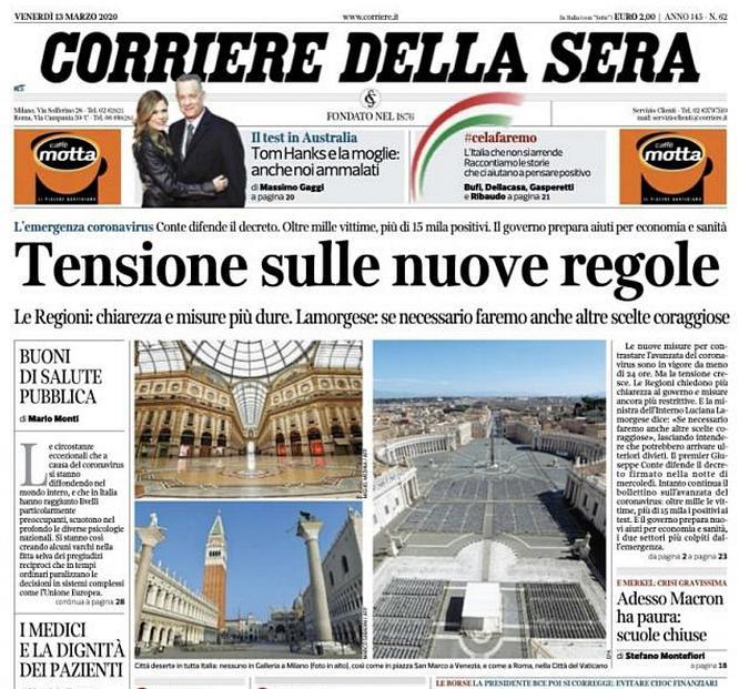 Фотографии безлюдных достопримечательностей Италии в миланской газете Corriere della Sera.
