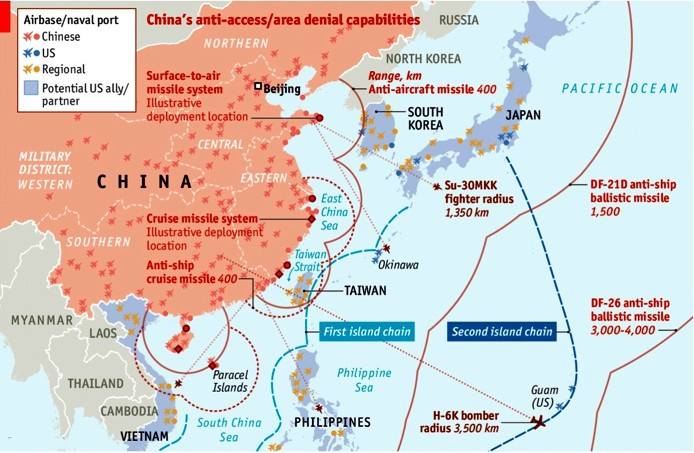 Возможности армии КНР заблокировать западную часть Тихого океана от боевых действий ВМС и ВВС США.