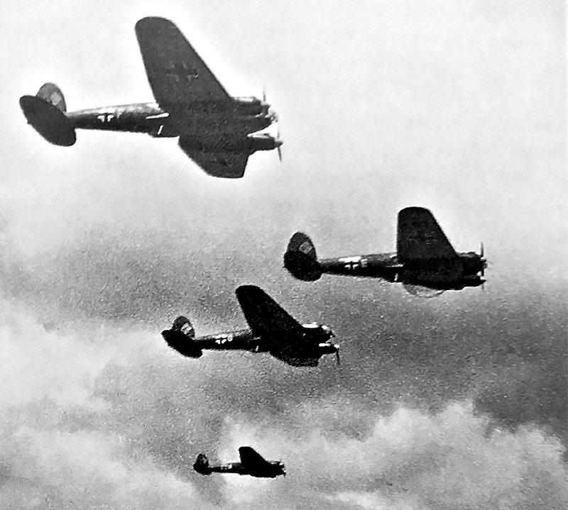 Налёт немецких бомбардировщиков.