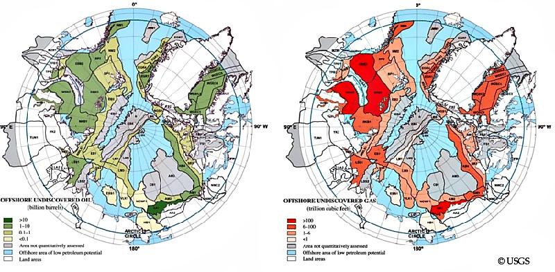 Карта запасов нефти и газа в Арктике.