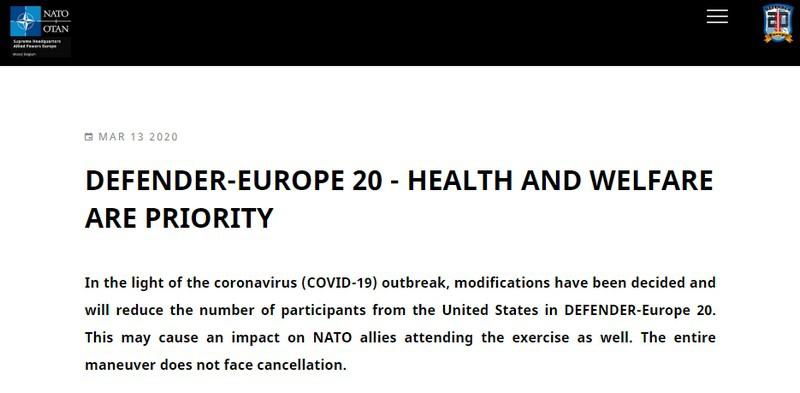 НАТО изменяет размер и масштаб учений Defender Europe 2020.