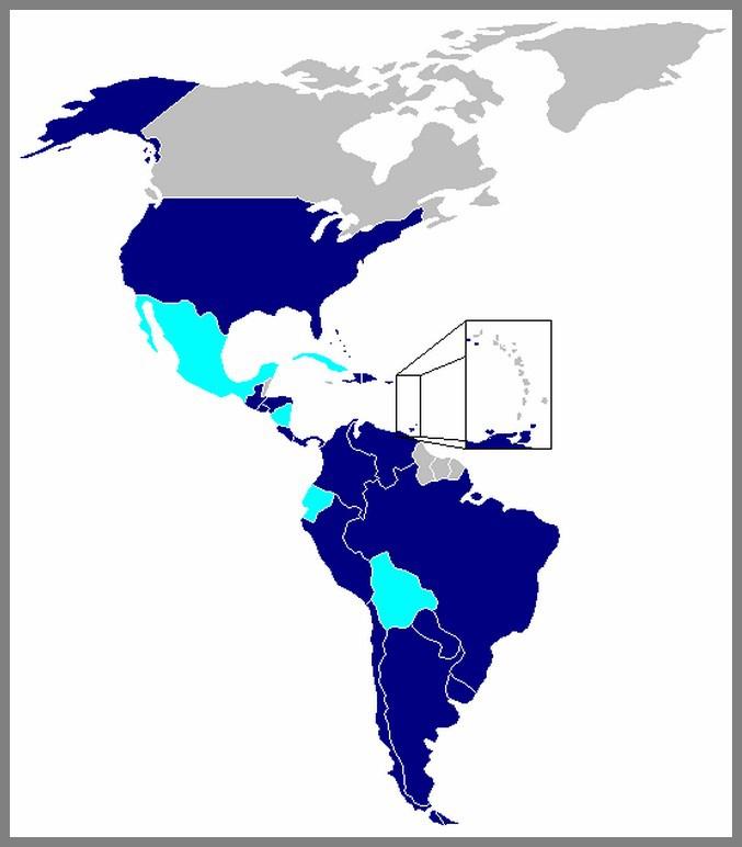 Страны входящие в Межамериканский договор о взаимной помощи от 1947 года..
