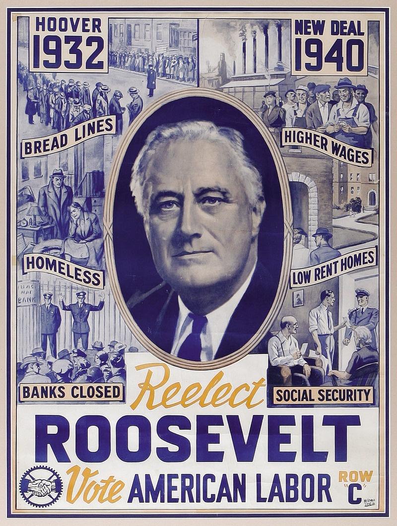 Курс Рузвельта, сформированный в период «Великой депрессии» вывел США из кризиса.