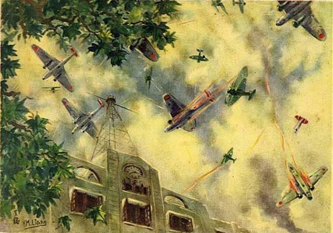 Воздушный бой с японцами на картине китайского художника.