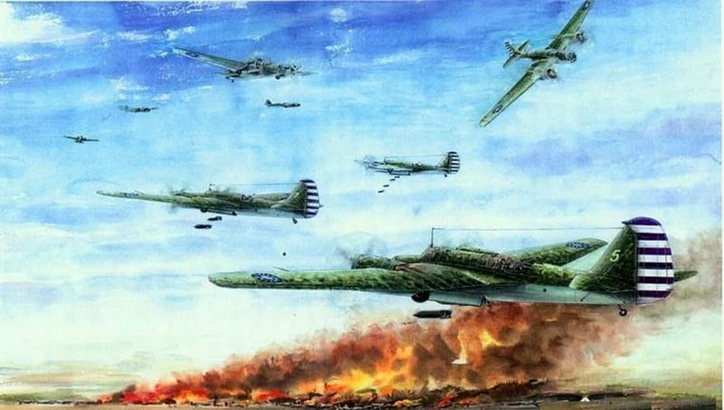 Так изобразил налёт наших лётчиков на аэродром Мацуяма китайский художник Чень Ин Минь.