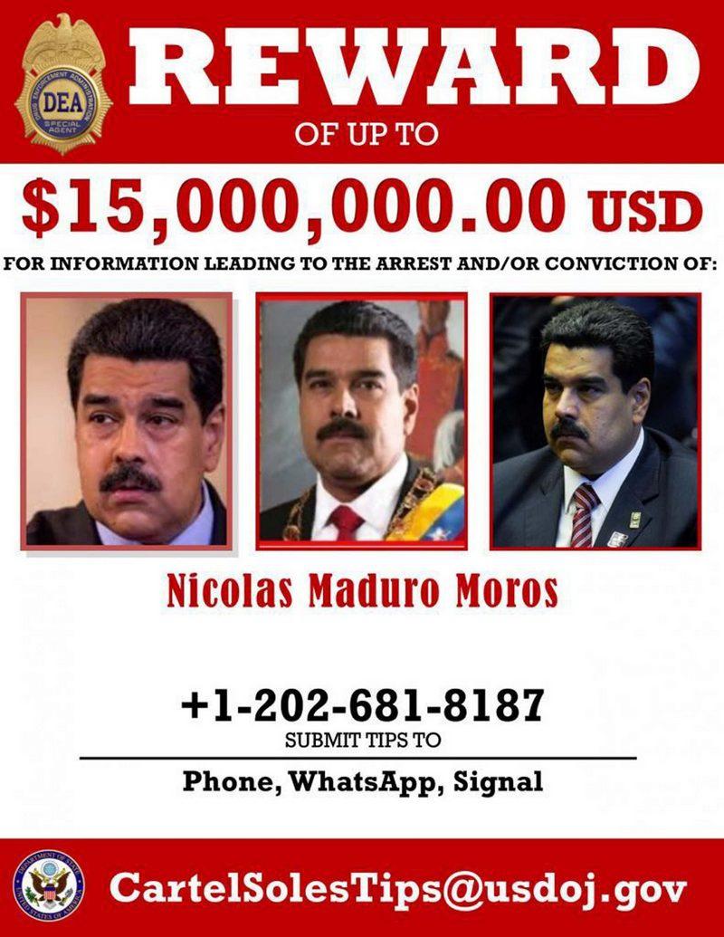 Штаты, в традициях киновестерна, объявили внушительную награду за поимку Мадуро.