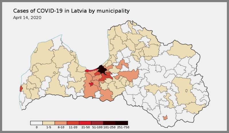 Карта заражения коронавирусом в Латвии.