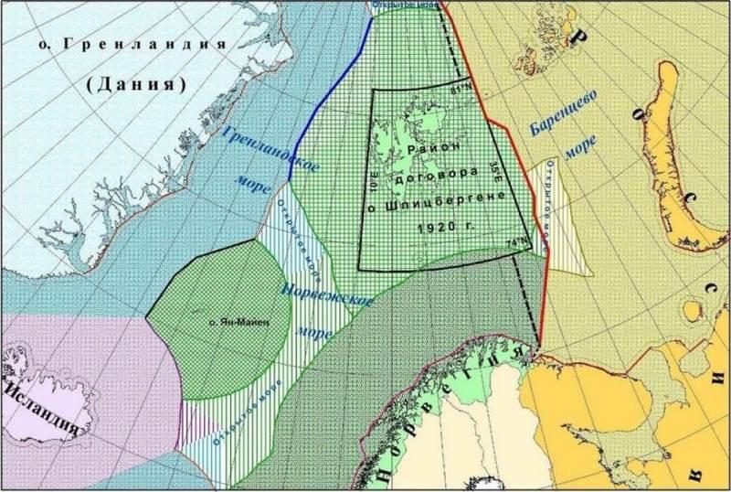 Карта разграничения по договору о Шпицбергене от 1920 года.