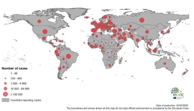 Карта заражений коронавирусом Covid-19 в мире на 4 мая 2020 года.