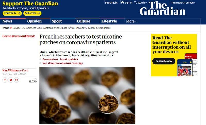 The Gardian отмечает, что клинические испытания никотиновых пластырей в качестве препарата для лечения Covid-19 ожидают одобрения органов здравоохранения Франции.