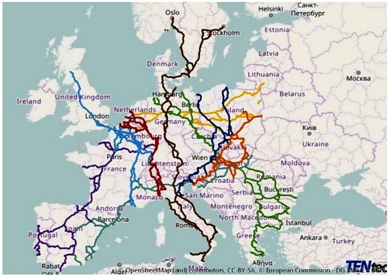Стратегические железнодорожные коридоры Трансъевропейской транспортной сети.