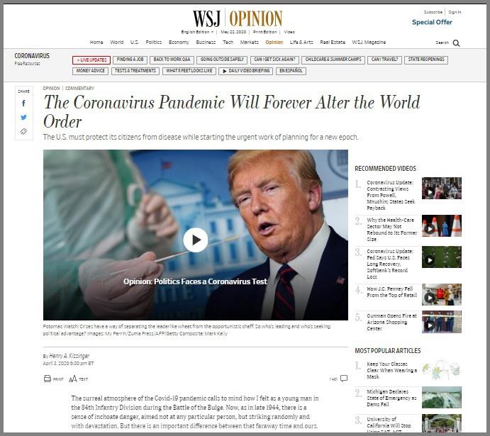 Статья Генри Киссинджера на сайте The Wall Street Journal о посткоронавирусном будущем мира.