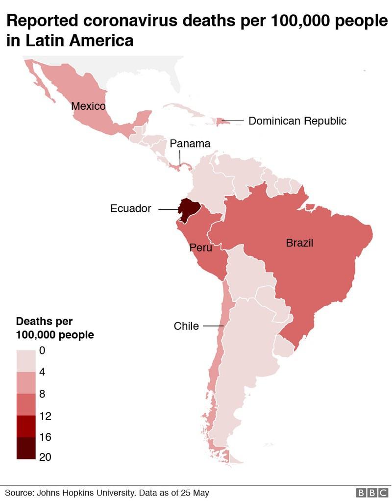 Уровень смертности от COVID-19 в Латинской Америке.