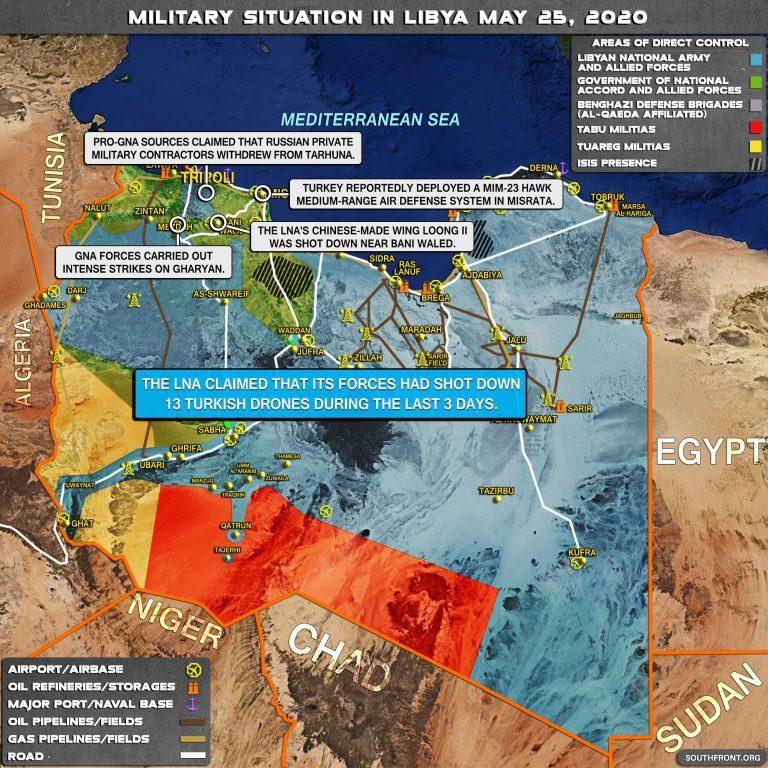 Военная ситуация в Ливии на 25 мая 2020 года.