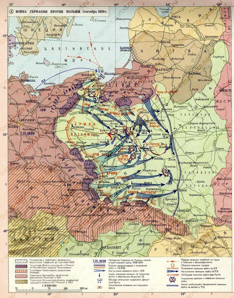 Карта нападения на Польшу.