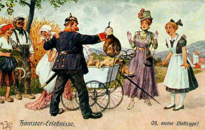 Дама хотела вывезти из деревни окорок в детской коляске, открытка.