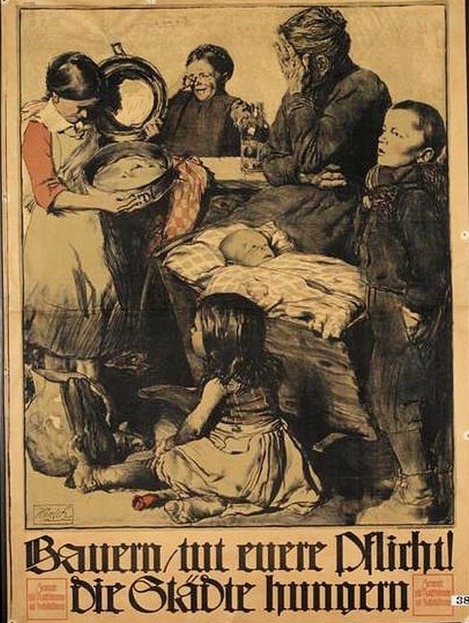 Семья осталась без хлеба, плакат.