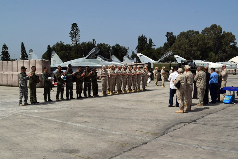 Церемония передачи истребителей МиГ-29 сирийской стороне на авиабазе Хмеймим.