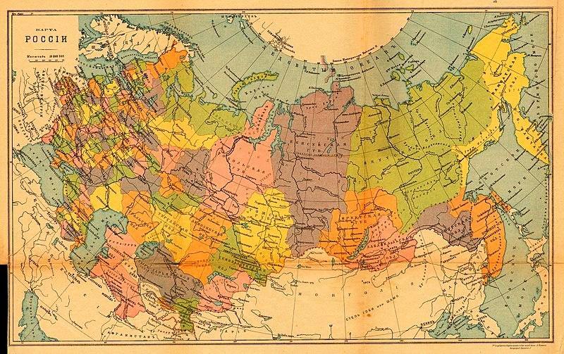 Карта административного деления Российской империи на 1914 год.