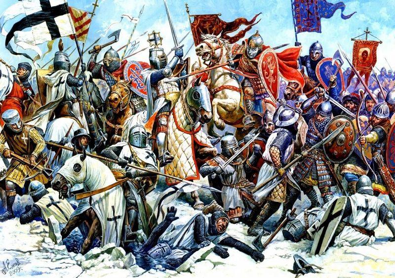 Князь Александр победил немцев в 1242 году на Чудском озере.