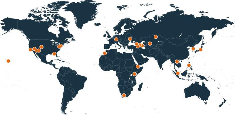 Местоположения лабораторий DTRA по всему миру.