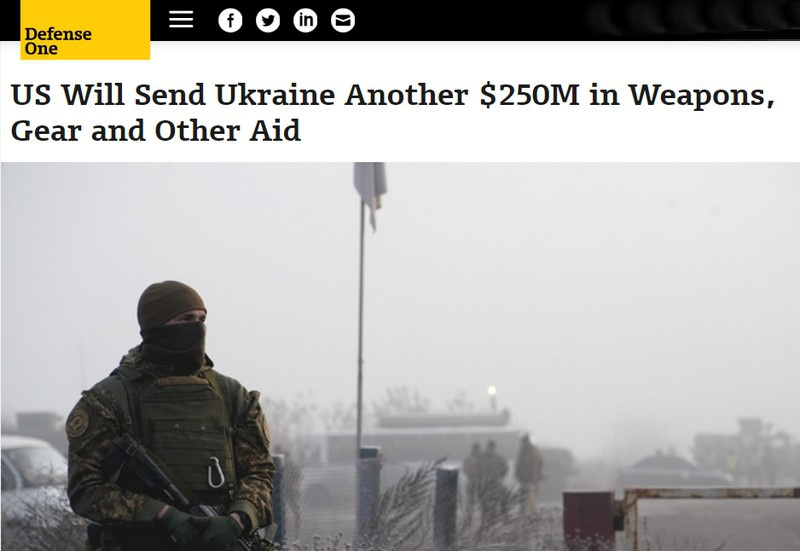 США направят Украине ещё $ 250 млн в виде вооружения, снаряжения и другой помощи.