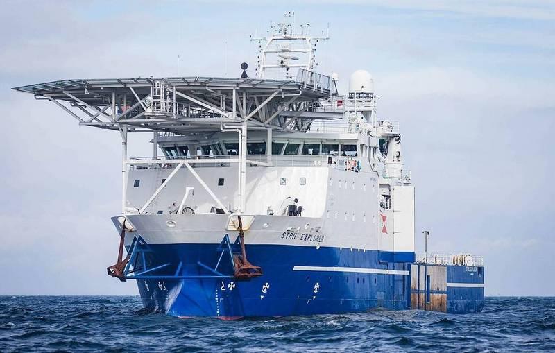 Около месяца многофункциональное судно Stril Explorer компании MMT Sweden проводило детальное исследование дна по маршруту укладки ветки газопровода.