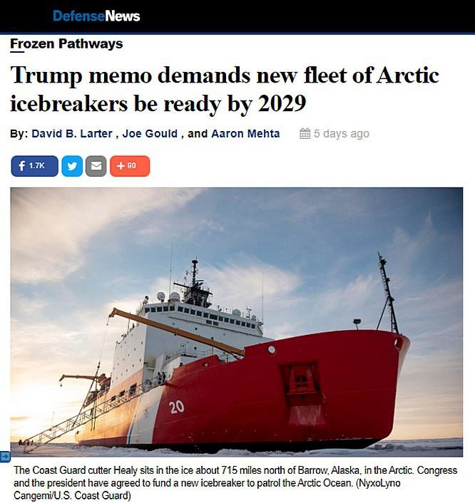 Издание Defense news отмечает, что «администрация всё больше обеспокоена деятельностью России и Китая в северном регионе...»