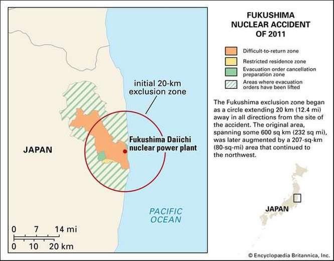 Карта территории, пострадавшей от аварии на АЭС «Фукусима-1».