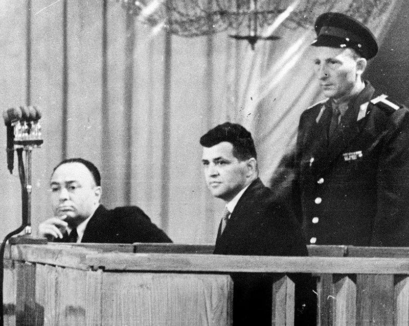 Фрэнсис Гарри Пауэрс во время судебного процесса в Колонном зале Дома союзов.