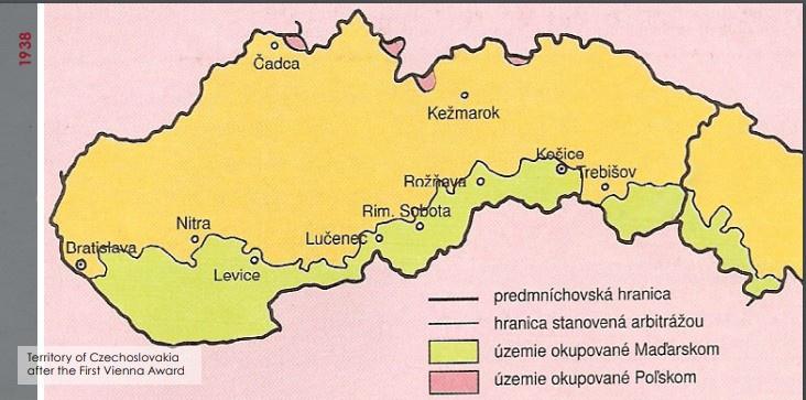 Территории присоединённые к Венгрии в период 1938-1941 годов.