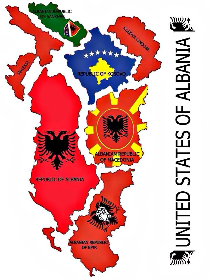 В «Великую Албанию» должны войти сама Албания, Косово, части Македонии, Черногории и Сербии.