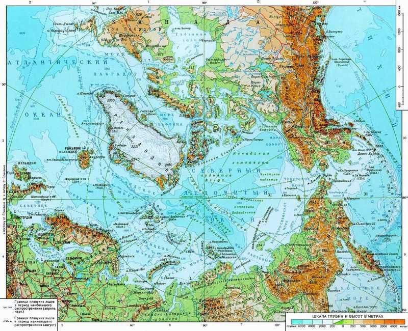 Карта Арктики.