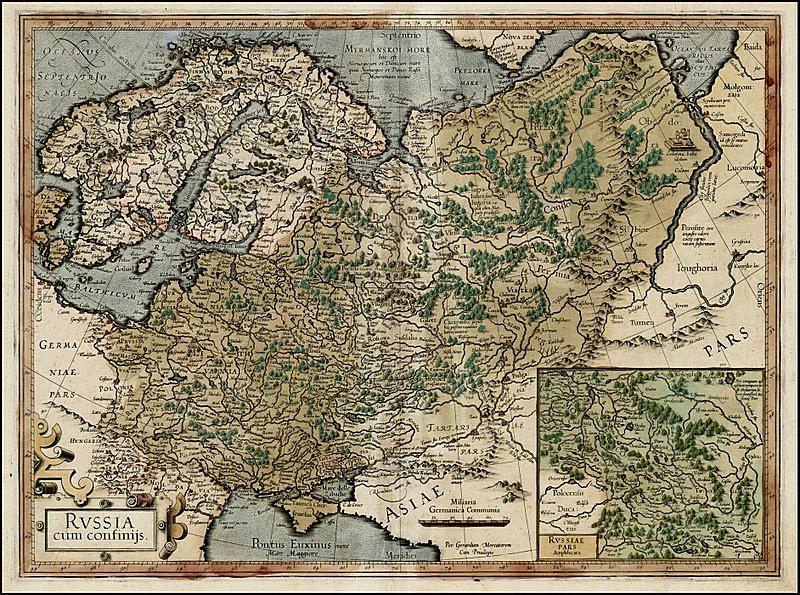 Карта России 1595-1606 годов Герарда Меркатора.