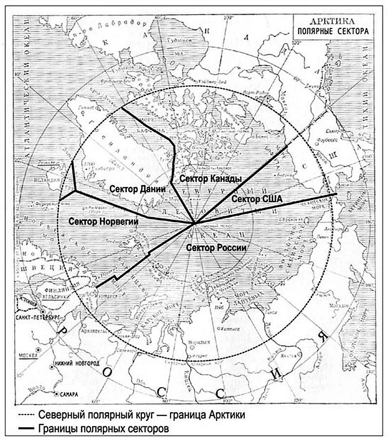 Приарктические государства в силу своего географического положения и исторических причин заявляют особые, преимущественные права на так называемые арктические сектора.