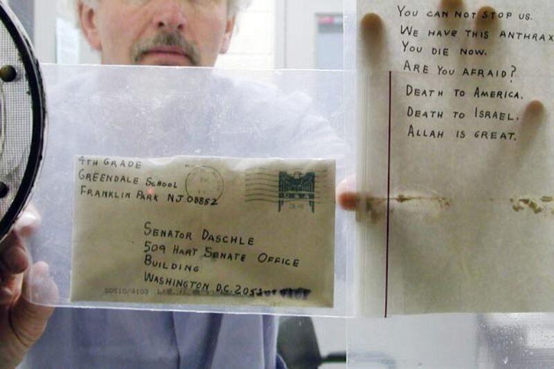 Письмо Брюса Айвинса со спорами сибирской язвы, адресованное одному из американских сенаторов.