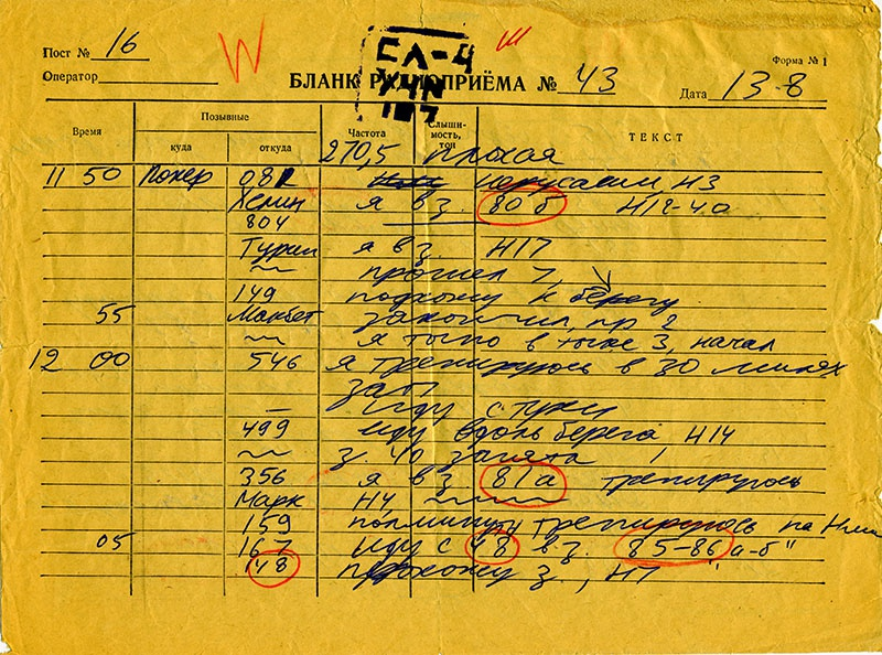 Бланк радиоприёма оператора службы обработки разведданных старшего лейтенанта Михаила Шатберашвили, заполненного им во время несения боевого дежурства в период войны Судного дня.