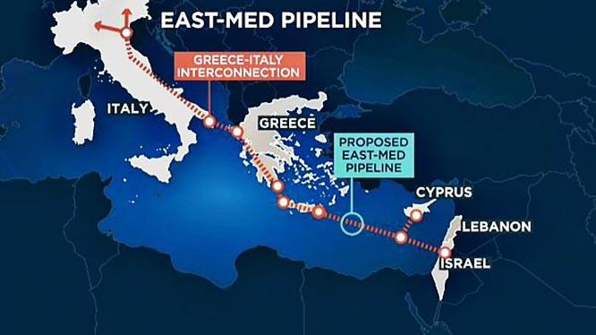 В рамках проекта EastMed планируется построить глубоководный газопровод по маршруту Израиль - Кипр - Греция - Италия.