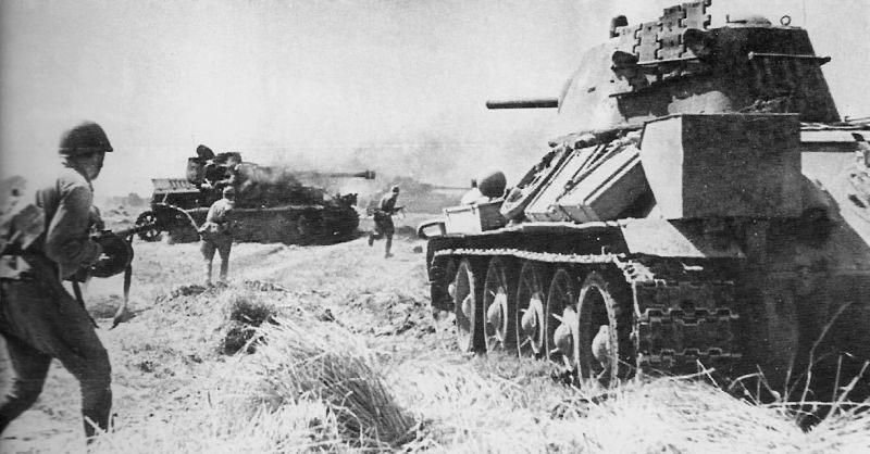 Контратака пехоты при поддержке Т-34.