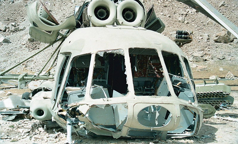 Советский Ми-8, сбитый моджахедами с помощью ПЗРК «Стингер».