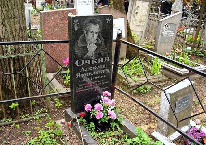 Могила Алексея Очкина на Миусском кладбище.