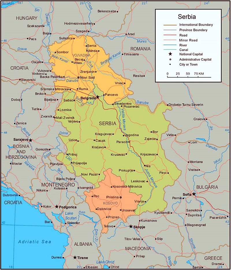 Карта Сербии включающая Косово.