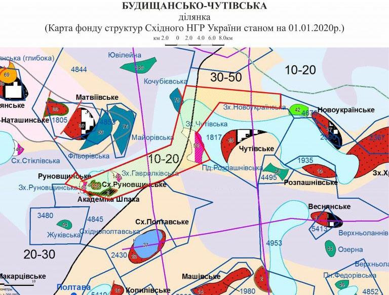 Карта Будищанско-Чутовского месторождения в Полтавской области.