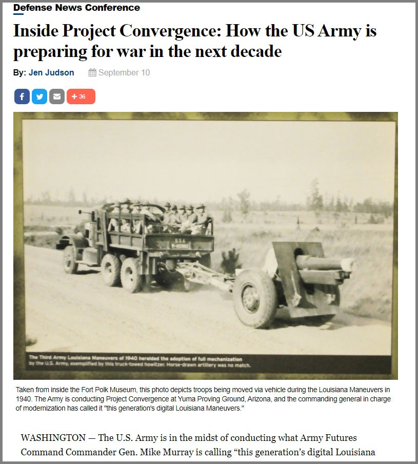 Статья Inside Project Convergence: How the US Army is preparing for war in the next decade на медиаресурсе Defence News.