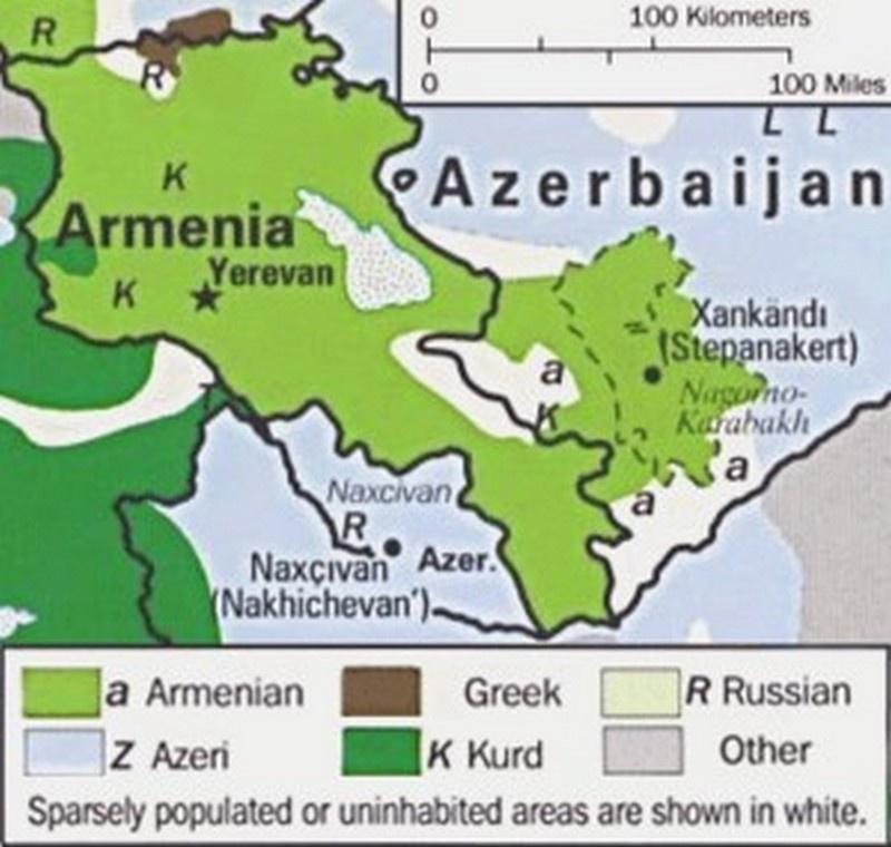 Этнические группы в Армении и Нагорно-Карабахской Республике, 1995 г.