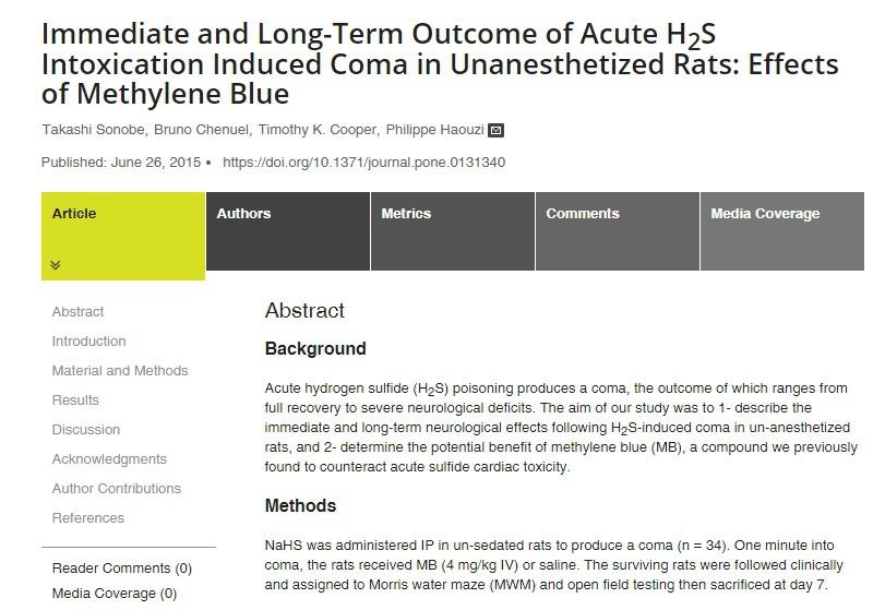 Статья «Ближайшие и отдалённые исходы комы, вызванной острой H2S интоксикацией у неанестезированных крыс: влияние метиленового синего». Опубликована 26 июня 2015 года.