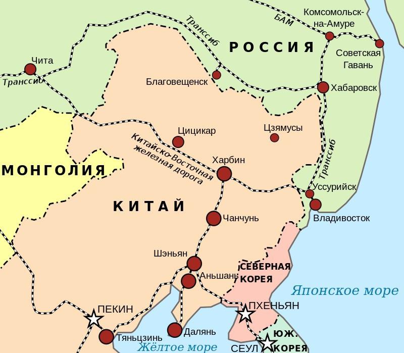 Карта Китайско-Восточной железной дороги.