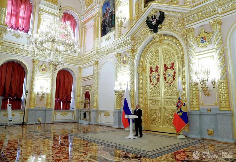 Президент РФ Владимир Путин выступает перед членами Совета Федерации Федерального Собрания РФ. 23 сентября 2020 г.